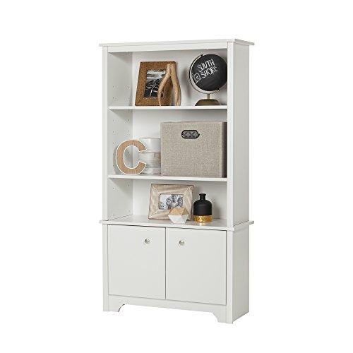 South Shore Vito 3-Shelf Bookcase with Doors Pure White