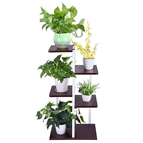 Icocol Metal 6 Shelf Bookcase Multifunctional Ladder-Shaped Plant Flower Stand Rack Bookrack Storage Shelves Black