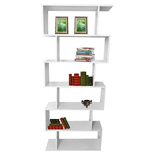 TOPINCN Modern 6 Tier Bookshelf S-Shaped Z-Shelf Style Bookcase Wooden Storage Display Stand Organizer Rack Shelf for Living Room Home Office Bedroom8024190cm315945748in