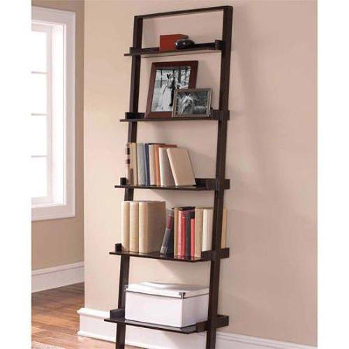Ladder 5-Shelf Storage Rack Espresso Bookcase Wood Leaning Tier Bookshelf