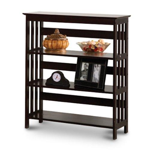 Mission Style Contemporary Cappuccino Espresso Book Shelf  Case Bookcase Bookshelf - Great for Rvs and Boats