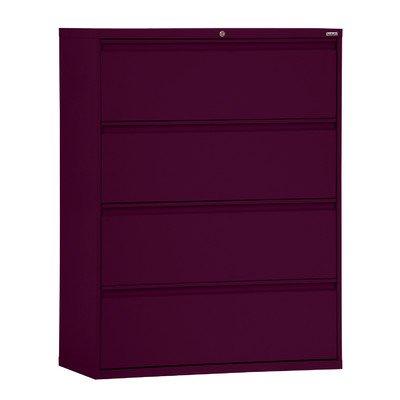 Sandusky Lee LF8F304-03 800 Series 4 Drawer Lateral File Cabinet 1925 Depth x 5325 Height x 30 Width Burgundy