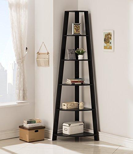 Black Finish Wood Wall Corner 5-Tier Bookshelf Bookcase Accent Etagere