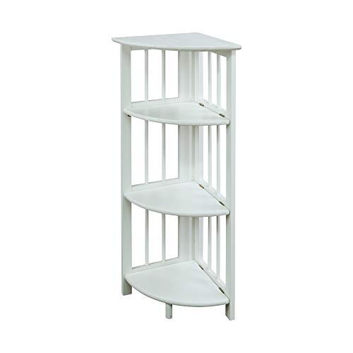 Casual Home 4-Shelf Corner Folding Bookcase White