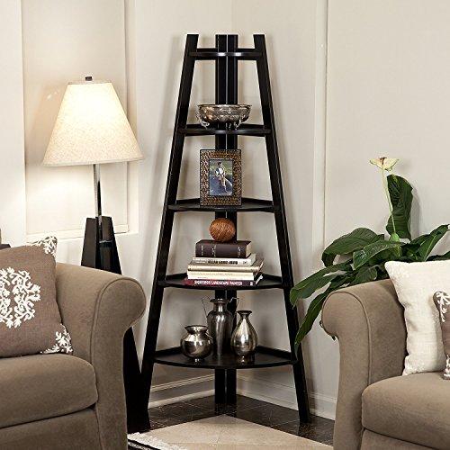 MTFY Corner Ladder Shelf5 Tier Corner Ladder BookcaseA-Shaped Utility Display Organizer Bookshelf Plant Flower Stand Storage Rack for Home Office Furniture