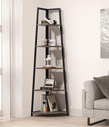NA Weathered Grey Finish 5-Tier Corner Shelf Industrial A-Shaped Bookcase Display Storage Rack Bookshelf 70 H