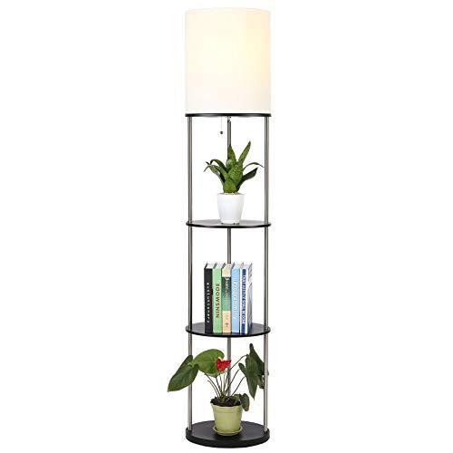 Upgraded Metal Floor Lamp with Shelf Bookshelf for Living Room Bedroom Taller Wider Corner Shelf Standing Lamp with Shelves for Storage Modern Black Etagere Stand Lamp with Shelving Units