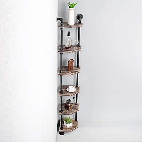 Weven 6-Tier Industrial Pipe Corner Shelves ModernRustic Book Shelves with Real WoodCorner Bookshelf Display StandMetal Standing Home Decor Shelf Units