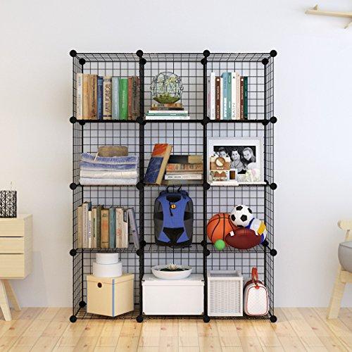Tespo Metal Wire Storage Cubes Modular Shelving Grids DIY Closet Organization System Bookcase Cabinet 12 - Regular Cube