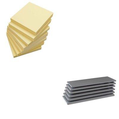 KITTNN6Q24818MGYUNV35668 - Value Kit - Tennsco Industrial Steel Shelving for 87 High Posts TNN6Q24818MGY and Universal Standard Self-Stick Notes UNV35668