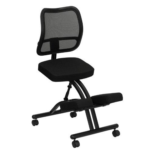 Emma  Oliver Mobile Ergonomic Kneeling Office Chair with Black Mesh Back