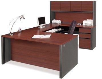 Bestar U Shaped Desk WHutch Executive Computer Desk 713L X 299W X 297H Hutch 71L X 125W X 358H Credenza 713L X 199W X 297H Bridge 466L X 233W X 297H - Bordeaux Graphite