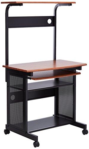 Coaster Computer DeskWorkstation with Sliding Keyboard Tray WalnutBlack Finish