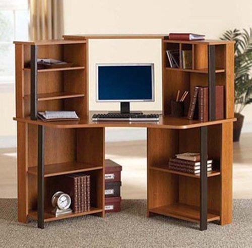 Corner Computer Desk Workstation with hutch Brown