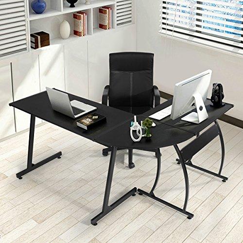 GreenForest L-Shape Corner Computer Office Desk PC Laptop Table Workstation Home Office 3-PieceBlack