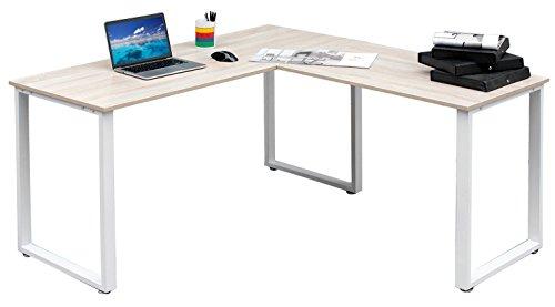 Merax 59-Inch L-Shaped Desk with metal Legs Office Desk Corner Computer Desk PC Laptop Table Workstation Oak Finish