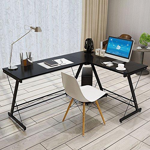 Soges L-Shaped Desk Computer Desk Multifunctional Computer Table Workstation Black SC1-B-N