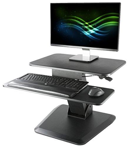 VIVO Black Height Adjustable Standing Desk Gas Spring Monitor Riser  235 Tabletop Sit to Stand Workstation Converter DESK-V000G