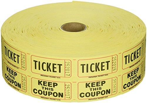Raffle Tickets 2000 per Roll 5050 Yellow