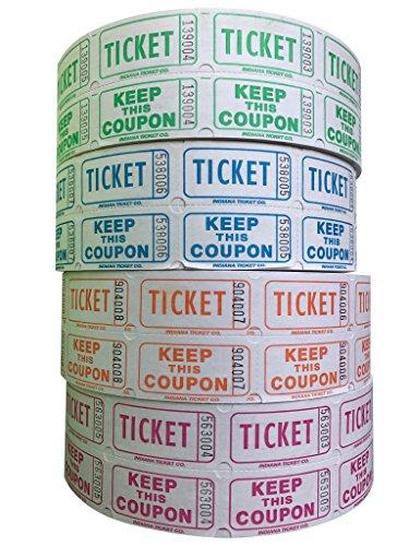 Raffle Tickets - 4 Rolls of 2000 Double Tickets 8000 Total 5050 Raffle Tickets LimeBlueberryTangerineRaspberry