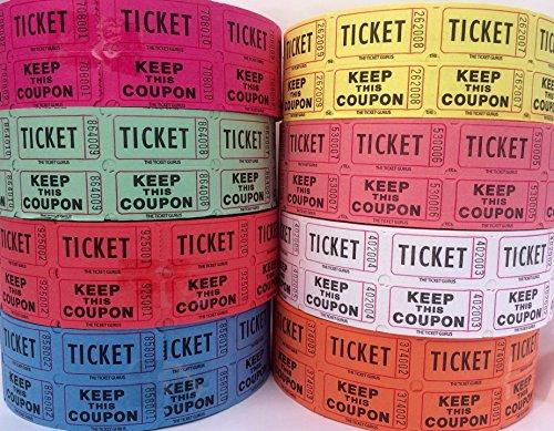 Ticket Guru-Raffle Tickets - 4 Rolls of 2000 Double Tickets 8000 Total 5050 Raffle Tickets Choose color combo below 4 Random colors