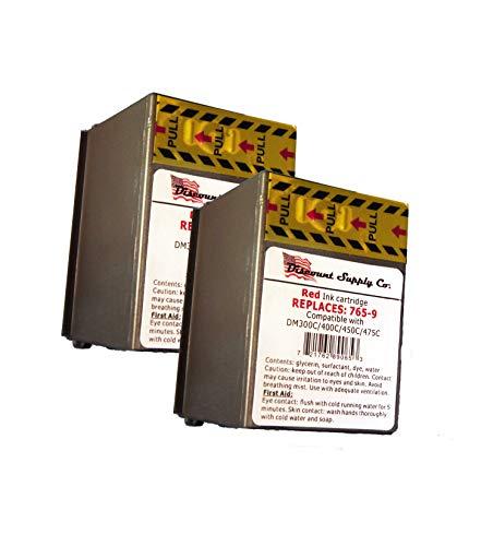 Pitney Bowes 765-9 Compatible Red Ink 2-Pack for DM300c DM400c DM450c Postage Meters