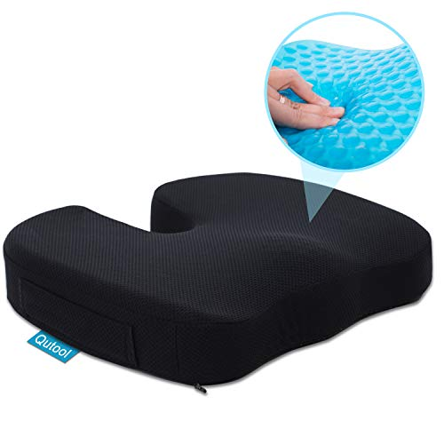 Gel Seat Cushion for Office Chair Car Wheelchair Orthopedic Memory Foam Support Pillow for Sciatica Tailbone Lower Back Pain Relief - Washable Breathable Cover - Non-Slip Bottom