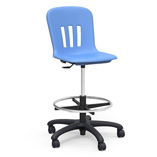 Virco Lab Stool Sky Blue Soft Plastic Shell Adjustable Seat Height Black Base N9LAB-BLU40