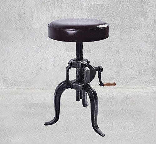 Diwhy Ameriacn Industrial Antique Quality PU Metal crank stool Three-Legged Bar Stool