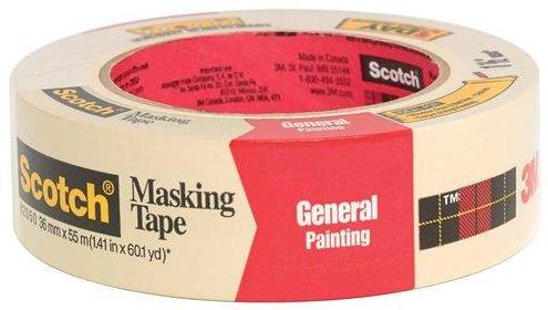3M Scotch 2050 Greener Crepe Paper Performance Painting Masking Tape 60 yds Length x 1-12 Width Tan