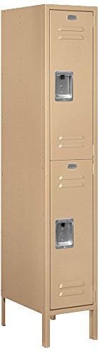 Salsbury Industries 62158TN-U Double Tier 12-Inch Wide 5-Feet High 18-Inch Deep Unassembled Standard Metal Locker Tan Brown