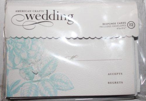 American Crafts Wedding Response Cards Embossed Flowers- 12 Response Cards Envelopes