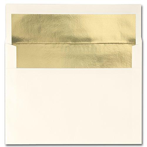 Fine Impressions A7-Envelopes 525 x 725 Bright Gold Lined 70-Pound Ecru Vellum 250 Count RRSA7EGOLD