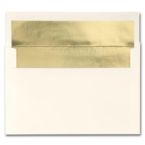 Fine Impressions Ecru Envelopes with Gold Liner - A9 5 34 x 8 34 70 lb Text Vellum - 250 per Box