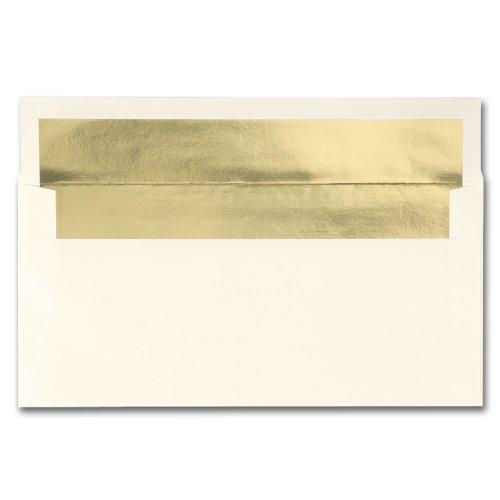 Fine Impressions Ecru Envelopes with Gold Liner - No 10 Commercial 4 18 x 9 12 70 lb Text Vellum - 250 per Box