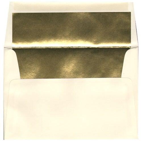 JAM Paper A8 Foil Lined Envelopes - 5 12 x 8 18 - Ecru with Gold Foil Lining - 50pack