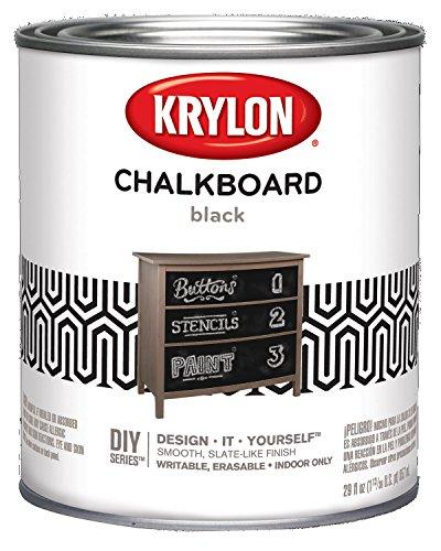 Krylon K05223000 Chalkboard Paint Special Purpose Brush Black Quart