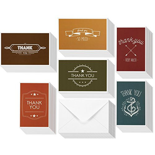 Thank You Greeting Cards - Bulk Set of 4 x 6 Paper Thank You Greetings Envelopes Included - 48 Pack