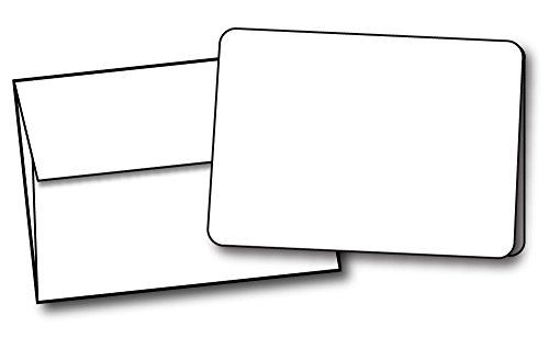 4 14 x 5 12 A2 Size Blank White Greeting Cards with Rounded Corners - 40 Cards Envelopes