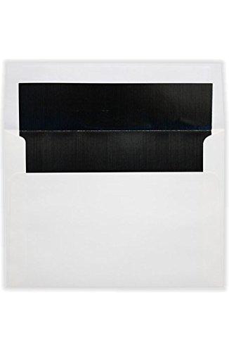A9 Foil Lined Invitation Envelopes wPeel Press 5 34 x 8 34 - White wBlack LUX Lining 50 Qty