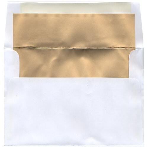 JAM Paper Foil Lined Invitation Envelopes - 5 38 x 7 34 - White with Matte Gold Foil Lining - 25pack