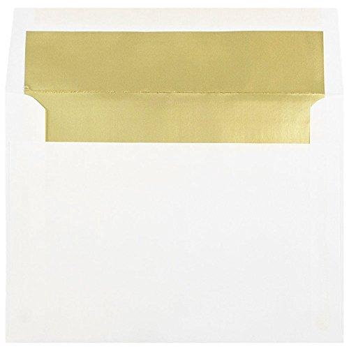 JAM Paper Foil Lined Invitation Envelopes - 6 x 8 - White with Gold Foil Lining - 50pack
