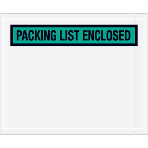 Aviditi PL455 Panel Face Envelope Packing List Enclosed 4-12 Length x 5-12 Width Green Case of 1000