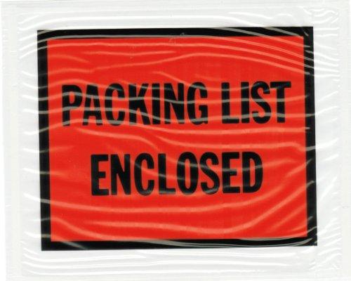 Shield Envelopes 100 Full Face Packing List Enclosed Envelopes 45 x 55 Inch Packing Slip - Invoice Enclosed Envelopes Pouch - 45 x 55  4 12 x 5 12 Back Loading Clear Pressure Sensitive Envelopes Item PLE-FP405