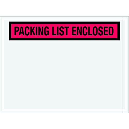 Tape Logic TLPL451 Packing List Enclosed Envelopes Panel Face 4 12 x 6 Red Pack of 1000