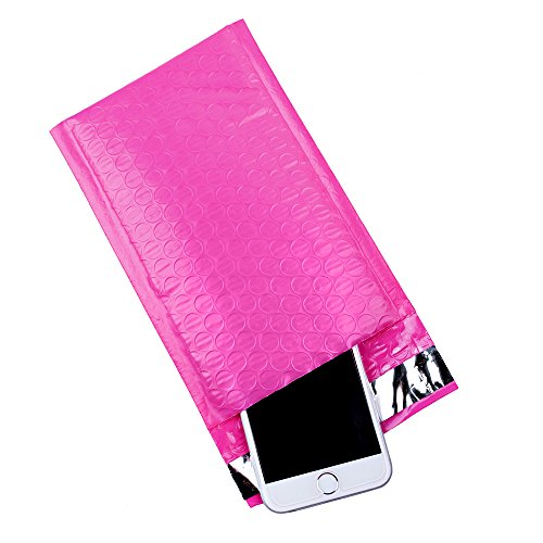 Fu Global 4x8-Inch Poly Bubble Mailer Pink Self Seal Padded Envelopes Pack of 50
