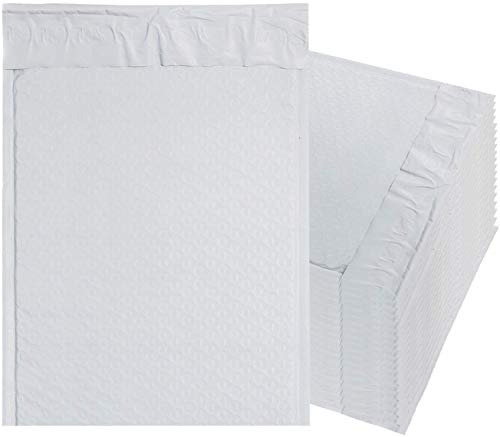 White Poly Bubble mailers 85 x 11 Padded envelopes 8 12 x 11 by Amiff Pack of 25 Poly Cushion envelopes Peel and Seal Mailing Shipping Packing Packaging