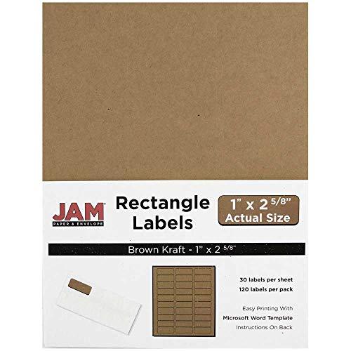 JAM PAPER Mailing Address Labels - Standard Mailing - 1 x 2 58 - Brown Kraft - 120 Shipping LabelsPack