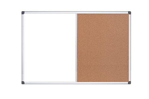 MasterVision Maya Combination Board Dry Erase  Cork Bulletin Board 18 x 24 Whiteboard  Cork Board with Aluminum Frame