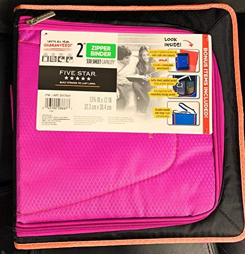 Five Star 2017007 Zipper Binder 2 530 Sheet Capacity 3-12 X 12 X 12-34